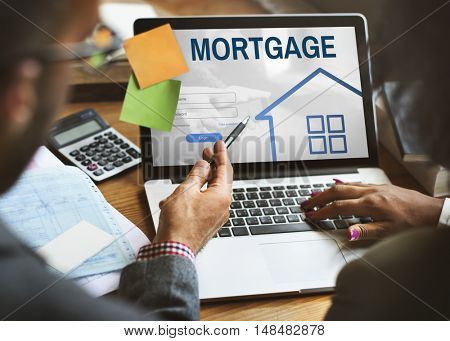 Mortgage Property Login Page Web Graphic Concept