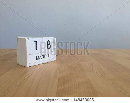 March 18Th. March 18 White Wooden Calendar On Vintage Wood Abstract Background. First Spring Day.cop