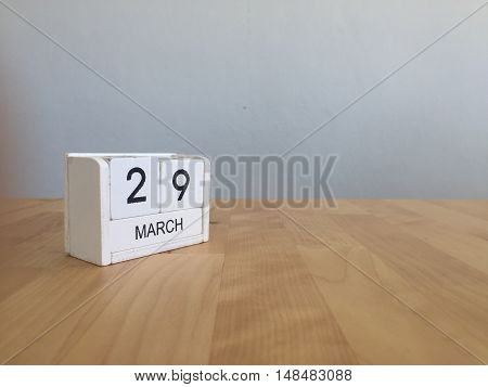 March 29Th. March 29 White Wooden Calendar On Vintage Wood Abstract Background. First Spring Day.cop