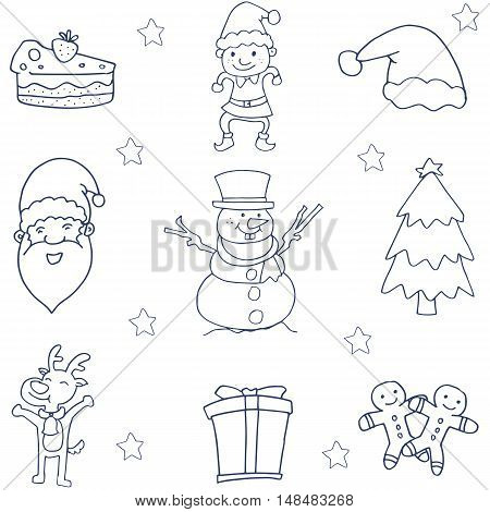Flat hand draw christmas of doodle vector art