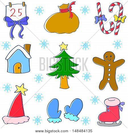 Vector art illustration of christmas set doodle
