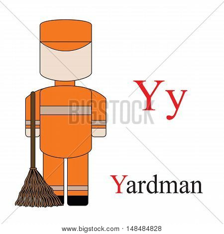Letter Y alphabet of professions. Yardman. ABC education cards for kids.