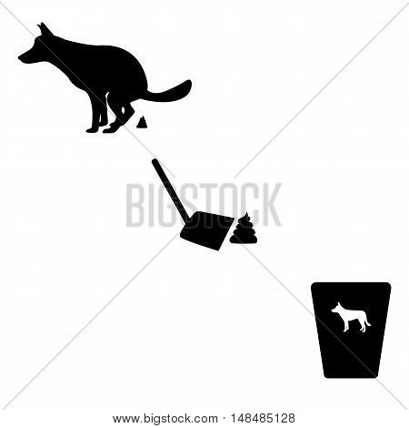 Vector illustration of a silhouette of the dog goes to the toilet. Isolated on white background. The concept of cleaning for pets. Basket for animals.