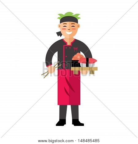 Cook with chopsticks and tray of food. Isolated on a white background