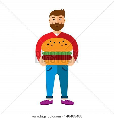 Handsome young boy wanted to taste big sandwich. Isolated on a white background