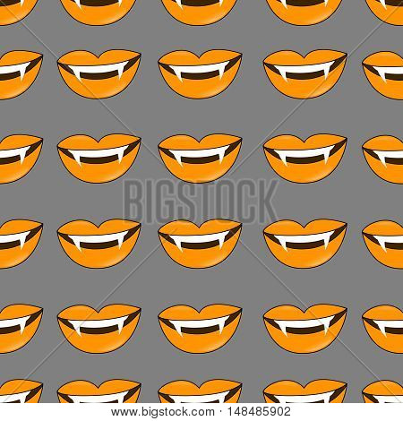 Vector Halloween background. Seamless pattern of vampire smiles in traditional colors of the holiday.