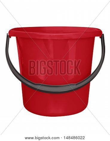 Red plastic bucket isolated on white background with Clipping path