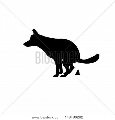 Vector illustration of a silhouette of the dog goes to the toilet. Isolated on white background. The concept of place for walking pets. Dog pooping.