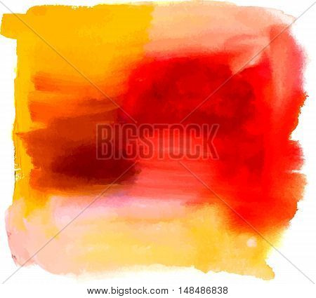 An abstract artistic bright yellow and red watercolor background texture with brush strokes. Scalable vector graphic