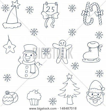 Doodle of christmas element vector art illustration