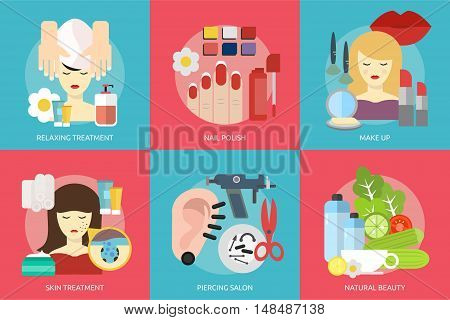 Beauty and Fashion Conceptual Design | Set of great flat design illustration concepts for beauty, fashion, stylist, cosmetic and much more.