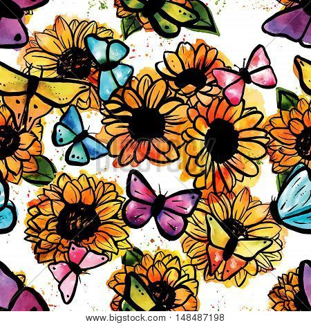 A seamless pattern of freehand vector and watercolor sunflowers and butterflies with splashes of paint, on white background