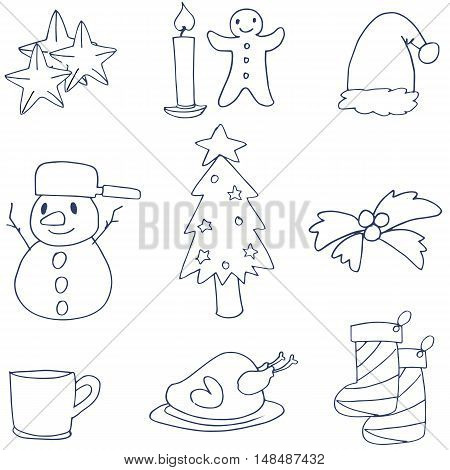 Hand draw christmas element doodle vector art