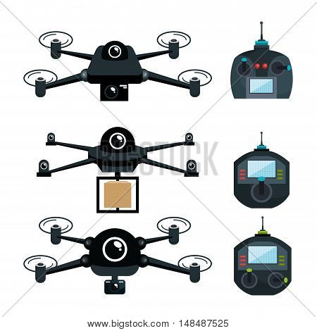 differents drone and remote control graphic vector illustration eps 10