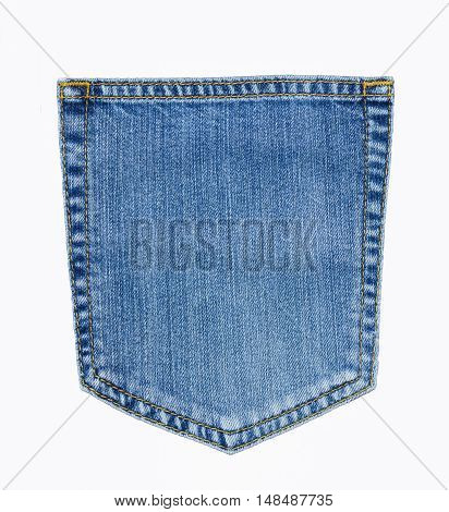 Isolate On White With Clipping Path Of Closeup Of Texture Background  Jean , Pocket Detail