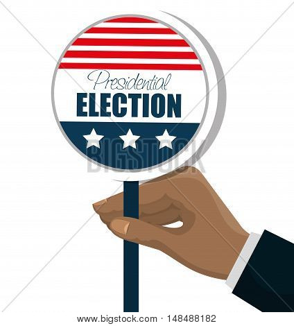 hand with button flag usa election graphic vector illustration eps 10