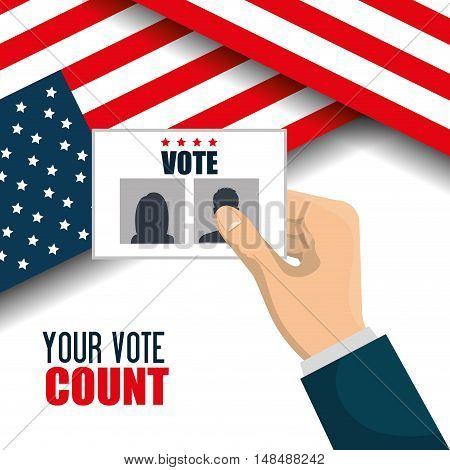 hand hold flag ballot voting usa election graphic vector illustration eps 10