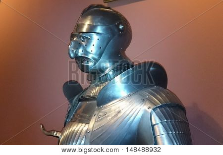 Unusually Knight armor in Armory Chamber of Hofburg Palace