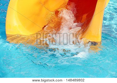 clear flowing water on plastic constructions aqua park