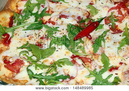 freshly made pizza as an assortment of fast food cafes element