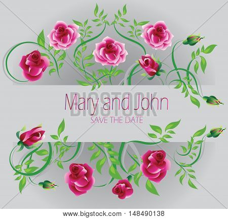 Wedding card. Mary and John. Pink roses decorate the wedding invitation. Vector image.