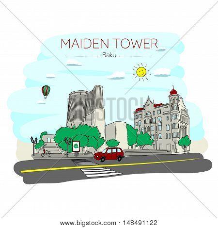 Maiden Tower Baku. Azerbaijan. Inner old city.