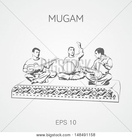 Folk musical compositions from Azerbaijan. Mugam. Mugham. Trio.