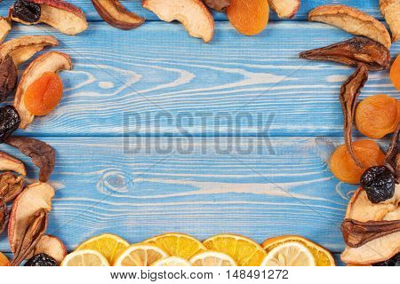Frame Of Ingredients For Preparing Beverage Or Compote Of Dried Fruits, Copy Space For Text