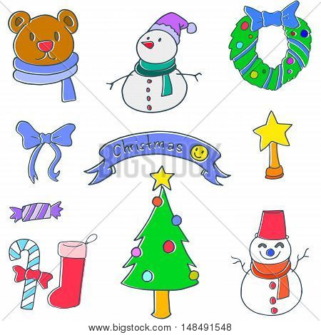 Object christmas set of doodle vector art illustration