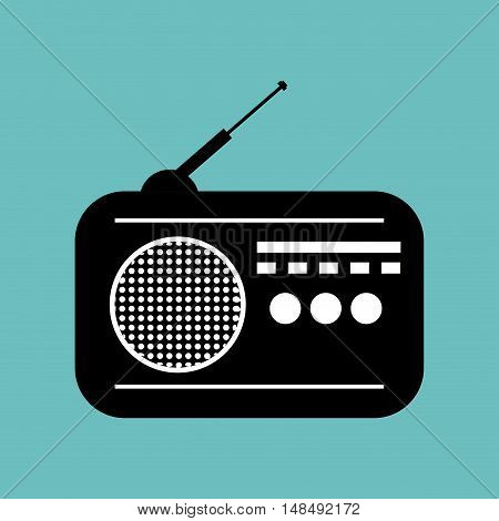 radio news black icon graphic vector illustration eps 10