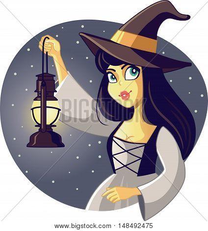 Beautiful Halloween Wicked Witch Holding Lantern Illustration