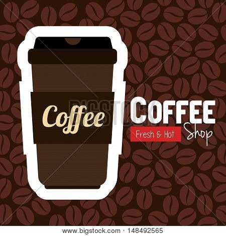 cup plastic coffee with bean background graphic vector illustration eps 10