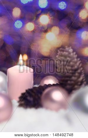 Festive Glitter Background, Christmas Balls, Fir Cones And Candles