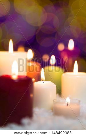 Colorful Candles In The Snow, Sparkle Background