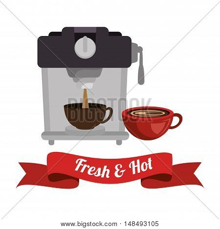 coffee maker with cup and banner graphic vetctor illustration eps 10