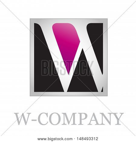 Vector button initial letter W on black background