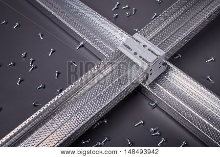 Profile for plasterboard, plasterboard fastening, set of building profiles, building materials, steel profiles for repair, construction works, modern building materials, screws for construction