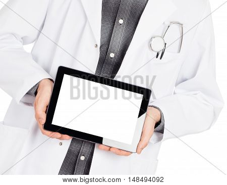 Doctor Holding Tablet With Copy Space And Clipping Path For The Screen