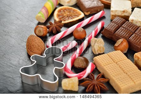 Christmas sweets on a black background close up