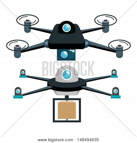 cartoon two drone technology graphic vector illustration eps 10