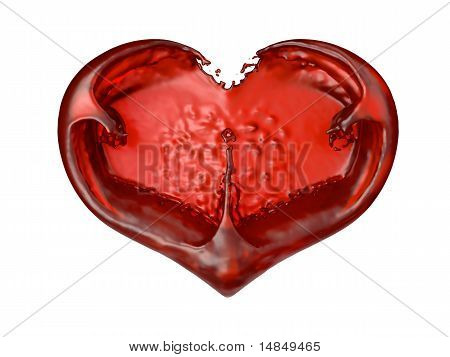 Passion And Love: Red Liquid Heart Shape