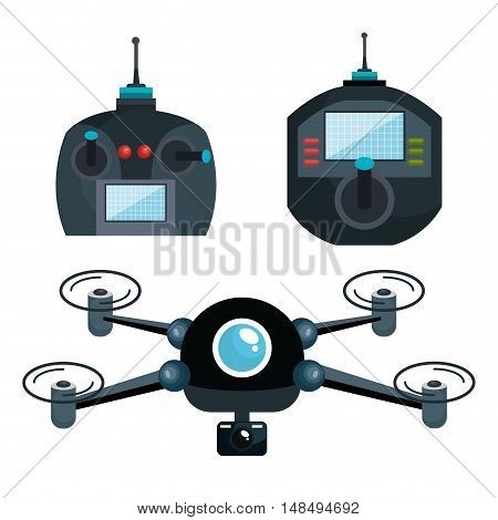 cartoon drone and controls graphic isolated vector illustration eps 10