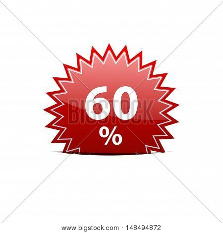Vector red sign discount 60% isolated illustration