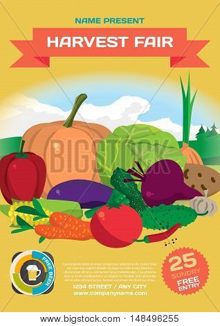 Fall harvest fair template poster. Autumn food festival. Vegetables on the background of the rural landscape. Vector flat cartoon illustration