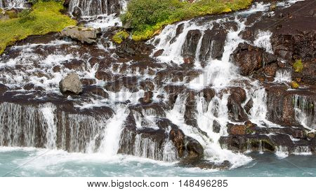 Hraunfossar Waterfalls In Iceland