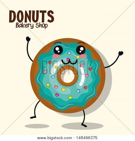 icon donut blue icing cream graphic vector illustration eps 10