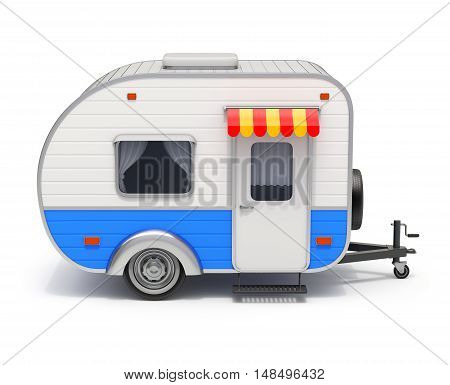 Retro RV camper trailer on white background - 3D illustration