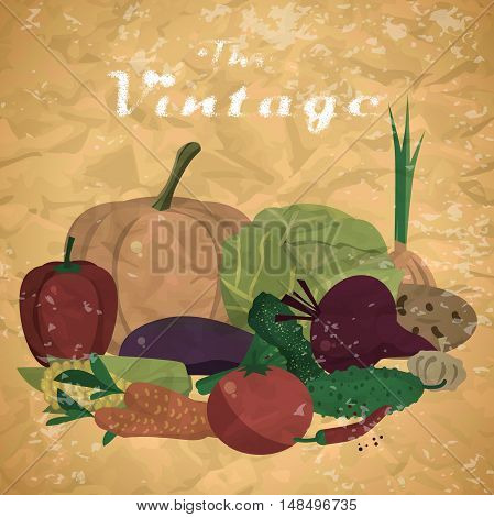 Fall harvest background with space for text. Autumn food festival. Pile of fresh vegetables. Vector flat cartoon illustration in vintage style
