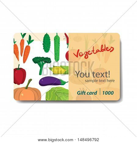 Store fruits and vegetables. Sale discount gift card. Branding design for vegetable market