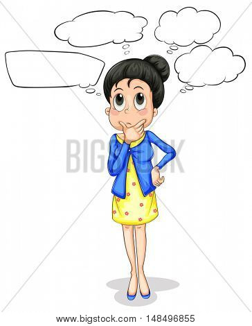 Woman with speech bubbles illustration